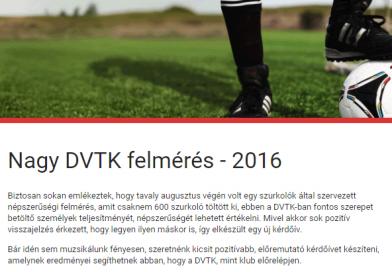 Nagy DVTK felmérés – 2016